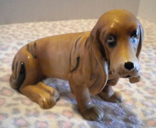Vtg Basset Hound Dog Doggie Figurine Ceramic (Korea)
