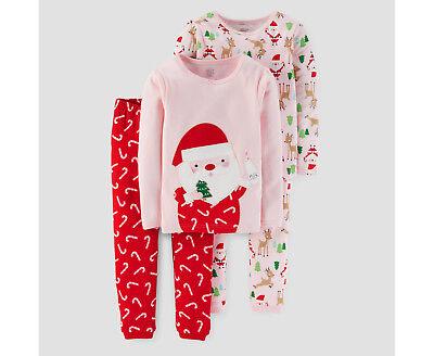 LOT/PACK OF 2~4 Pieces Toddler Girl Santa Milk Cookies Christmas/Holiday - Holiday Toddler Pajamas