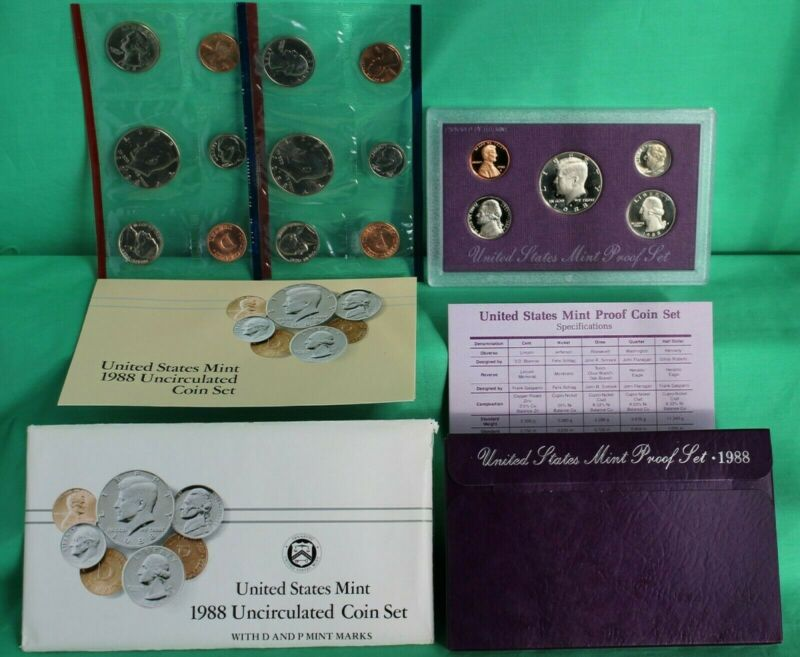 1988 P D S Proof and Uncirculated Annual US Mint Coin Sets 15 Coins Bundle PDS