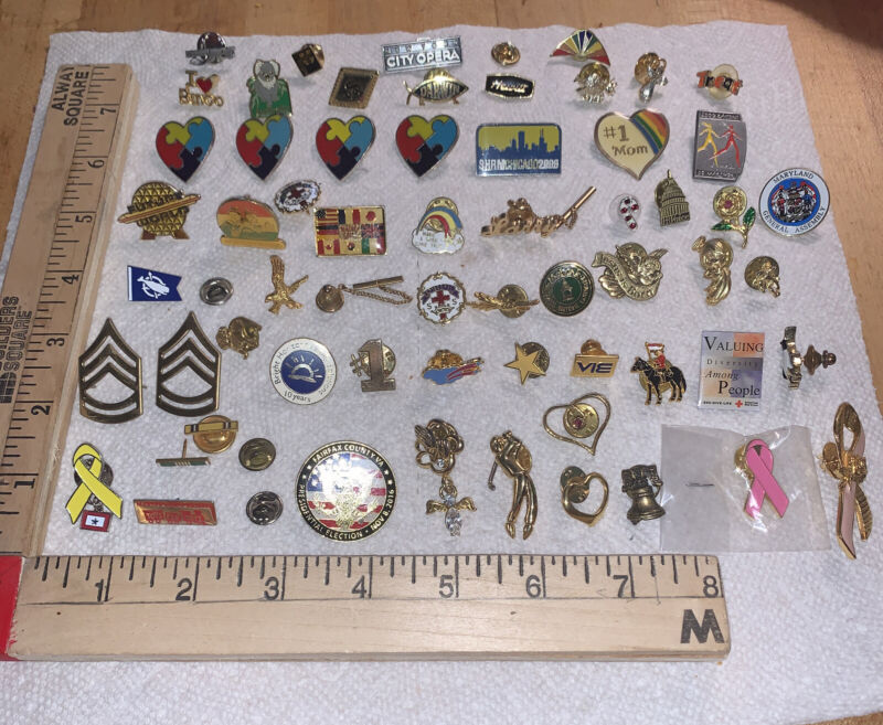 Lapel Pin LOT Travel Organization Military Lapel PINS Hat Pins