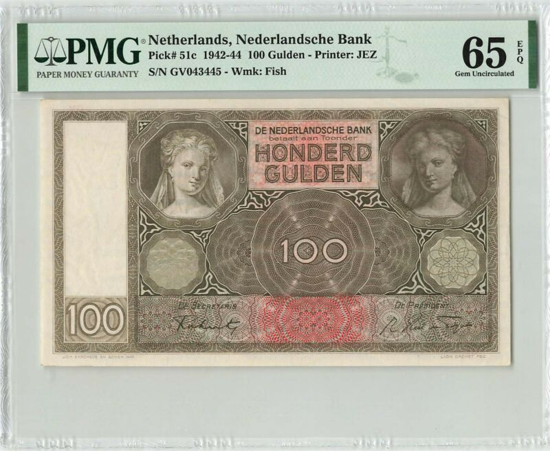 Netherlands 100 Gulden 1942 JEZ Pick 51 PMG Gem Uncirculated 65 EPQ
