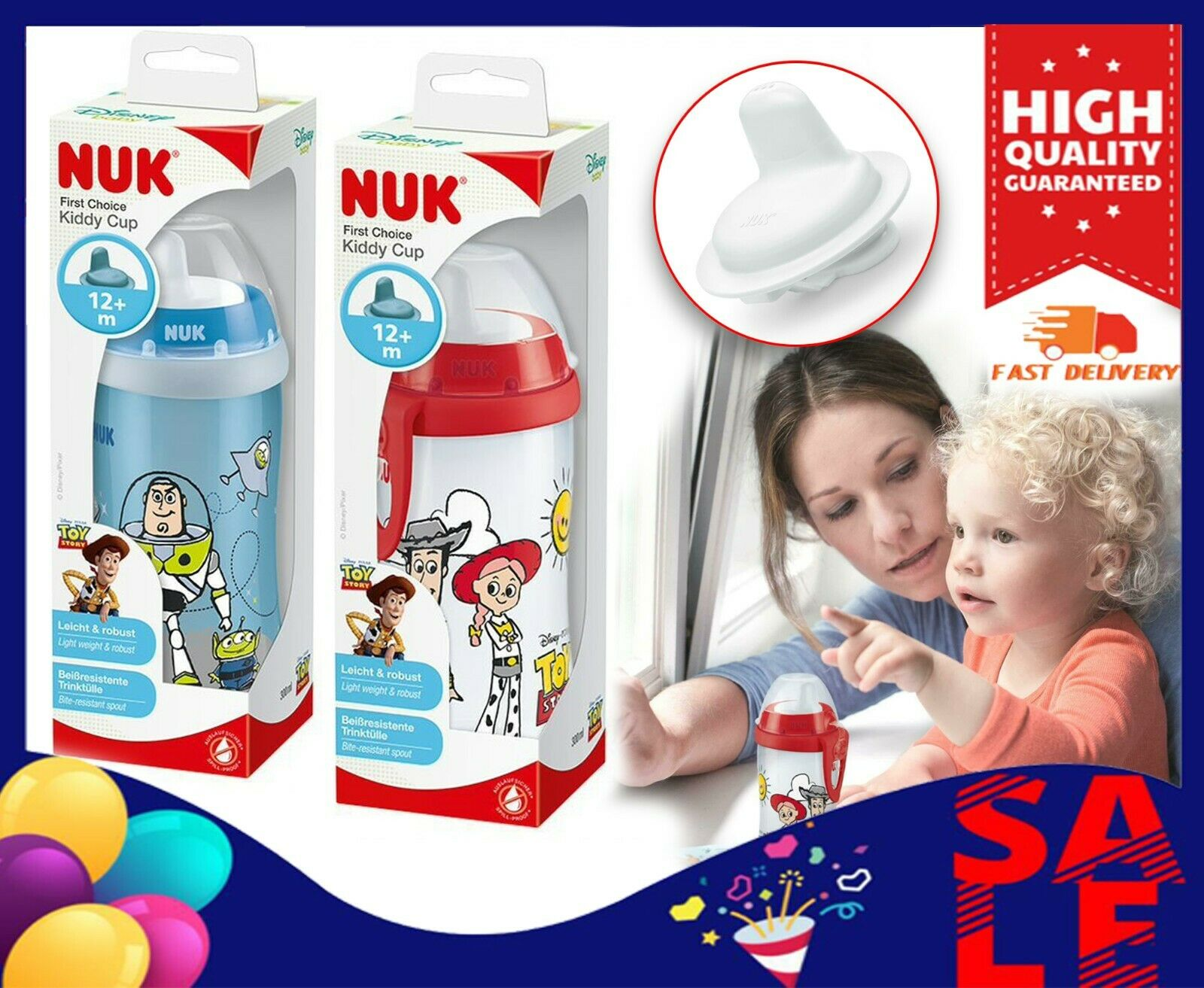 300 ml Receive Woody or Buzz BPA Free Design Varies 12 Months+ NUK First Choice Toy Story Kiddy Cup Toddler Cup