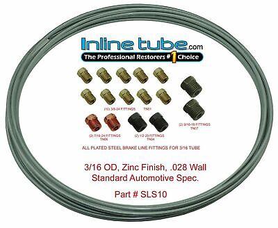3/16 OEM Zinc Steel Brake Line Tubing Kit Coil Roll & SAE Tube Nut Fittings 25FT
