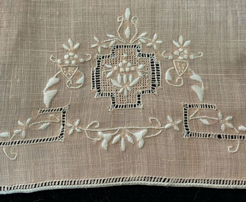 Pr of Vintage Antique Linen Hand Embroidered Towels   WW85
