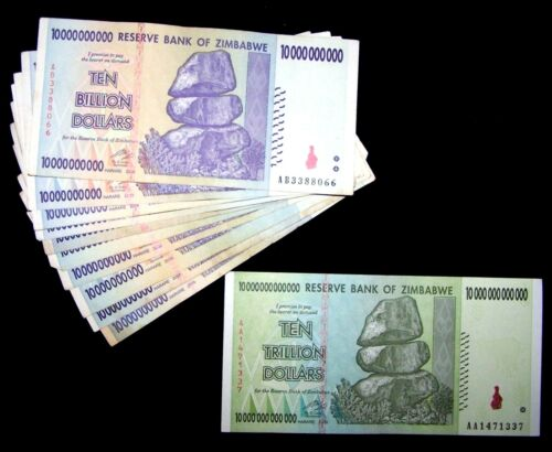 11 Zimbabwe banknotes-1 x 10 trillion / 10 x 10 Billion dollars/2008