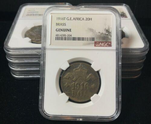 German East Africa brass 20 heller 1916-T Konigsberg Shipwreck Coin NGC Genuine