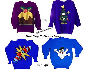 4 x Christmas Jumper Sweater Knitting Patterns #8 Snowman Tree Cracker Pudding