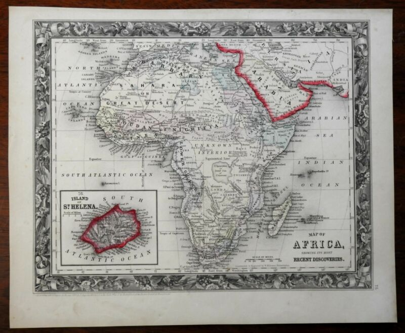African Continent Unknown Interior erroneous large sea 1860 nice Mitchell map