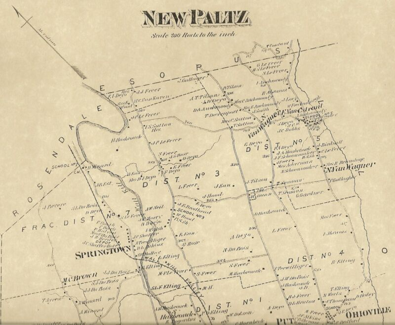 New Paltz Springtown Ohioville NY 1875 Map with Homeowners Names Shown