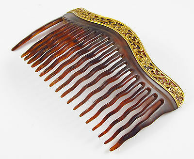 Victorian Wigs, Hair Pieces  | Victorian Hair Jewelry 14K Gold Victorian Art Nouveau Faux Tortoise Shell Floral & Ivy Motif Hair Comb  $185.00 AT vintagedancer.com
