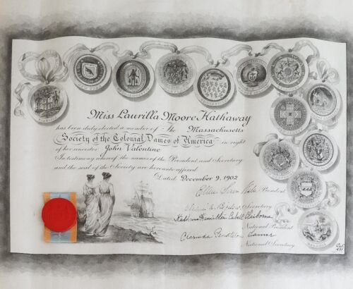 Antique Society Colonial Dames Of America Membership Certificate Tiffany & Co
