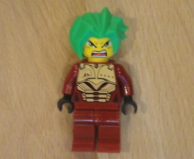LEGO EX0-FORCE Minifig TAKESHI With Green Hair & Dark Red Outfit ~ 2-Sided Head