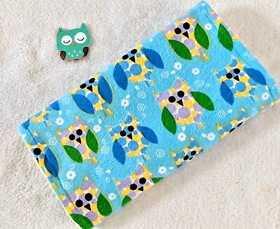 Handcrafted, Flannel, Blue Owl Print & Yellow Bubble Minky, Baby Burp Cloth  (Blue Baby Burp Cloth)