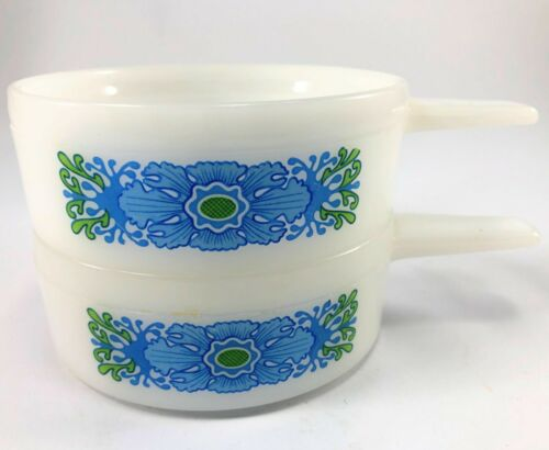 Set of 2 Milk Glass Blue Floral  Ovenware Chili Soup Bowls J-2639 14oz ea