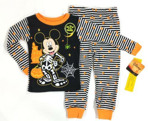 Toddlers Mickey Mouse Kids Halloween Pajamas Pants Shirt Skeleton 3T 4T 5T PJs