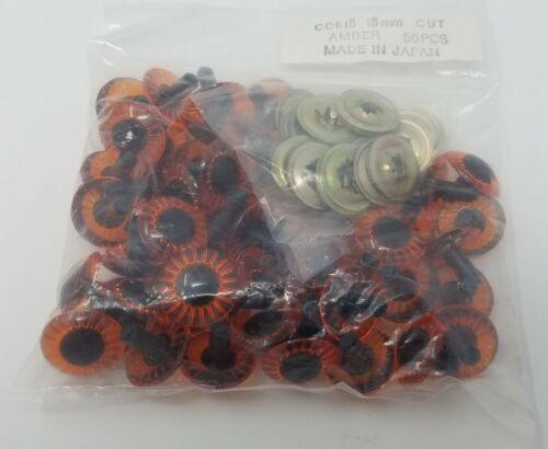 50 pcs Vintage 18mm Amber Orange Plastic Animal Eyes Dolls, Puppets Crafts Japan