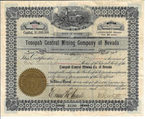 NEVADA 1906 Tonopah Central Mining Company of Nevada Stock Certificate