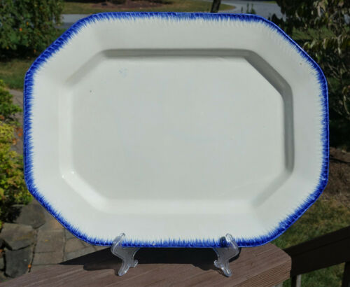 Superb Antique Blue Feather Edge Earthenware Leeds Style Platter Staffordshire
