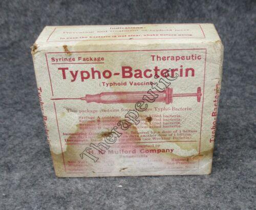 1912 H.K. Mulford Co Wooden Medicine Pharmaceutical Syringe Box Typho - Bacterin