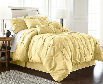 Chezmoi Collection Sydney 7-Piece Soft Yellow Pinch Pleat Pintuck Comforter Set
