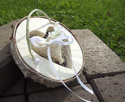 Ringkissen Ringhalter Herz rund creme weiß für Eheringe Hochzeit Liebe aus Holz