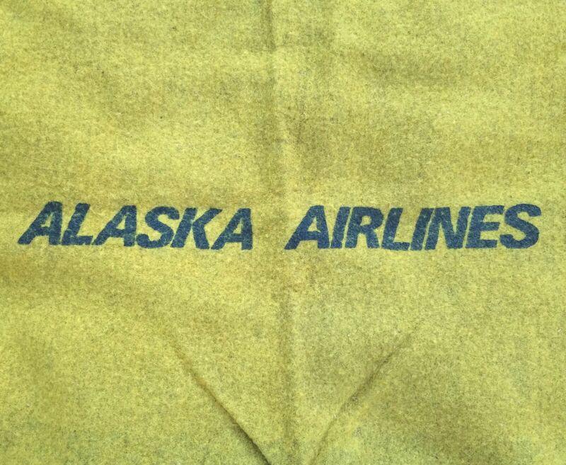 RARE Vintage Alaska Airlines Plane Cabin In-Flight Wool Lap Throw Blanket Yellow