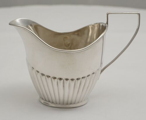 Little antique English Victorian solid sterling silver part fluted cream jug
