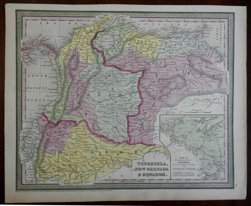 Columbia Venezuela Ecuador Panama Railroads New Granada c. 1846-9 Mitchell map