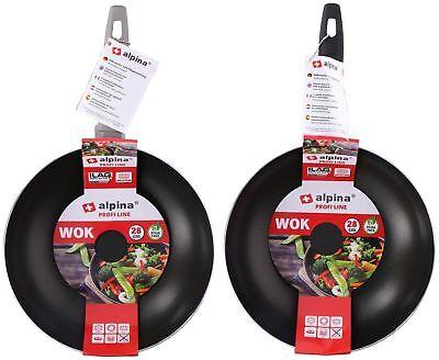 Wok 2-er Set Alluminio senza Pfoa 280 mm Diametro Induzione Gas Elettrico