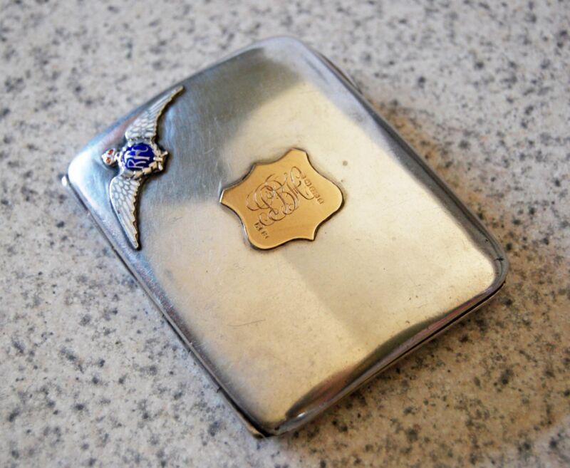 Antique Unique Royal Flying Corp Cigarette Case Sterling Silver/Gold/Enamel1900