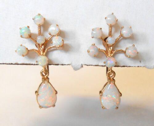 Vint Fiery Opal 14K Yellow Gold Screwback Earrings Branch Design OvalDrop Dangle