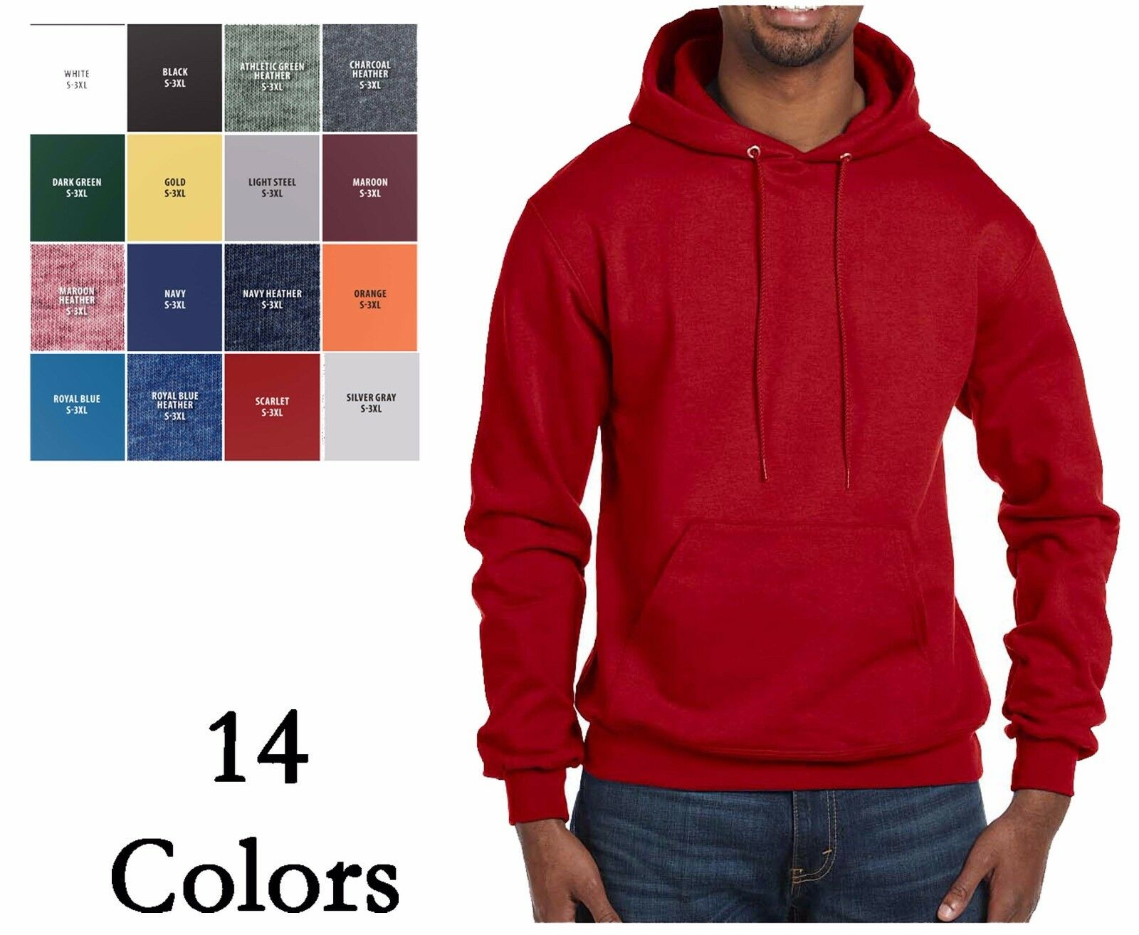 91869863b6a5 Details about Champion Eco-friendly Fleece Pullover Hoodie Sweatshirt warm  S-3XL