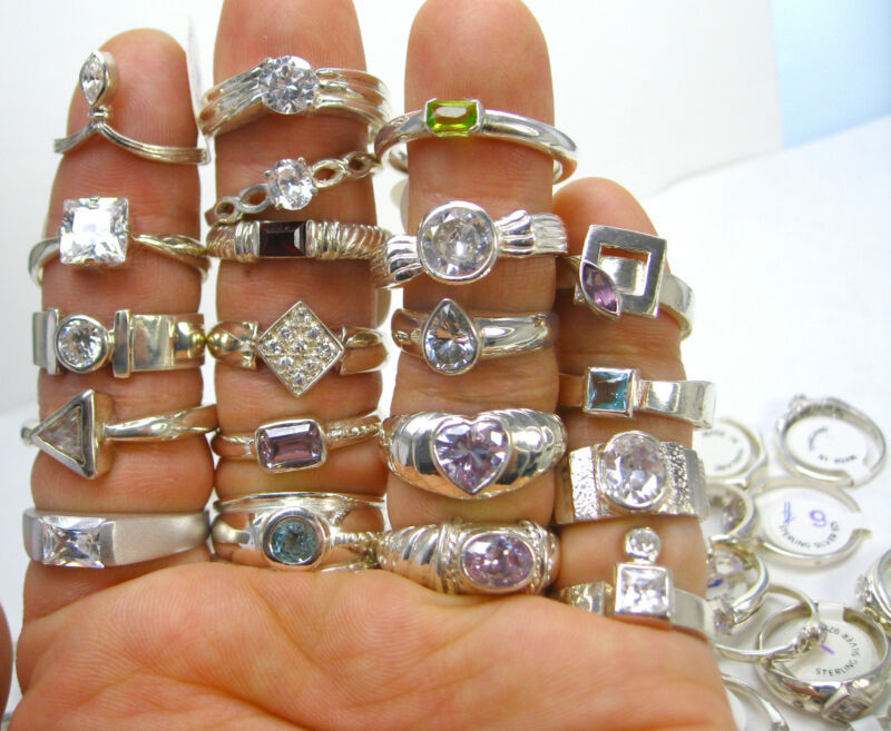 50 GRAMS Wholesale Mixed Variety Lot NEW 925 Sterling Silver Approx. 9-15 Rings