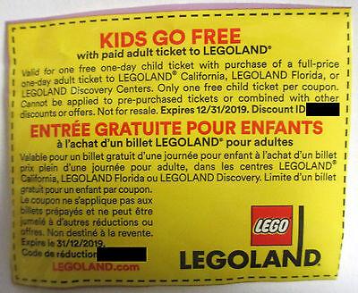 1X Legoland California Florida Discovery Kids Ticket Exp 12 31 2019