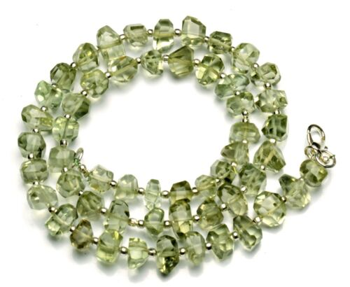 "Natural Gem Green Amethyst Prasiolite 7 to 8mm Size Nugget Beads Necklace 16"""
