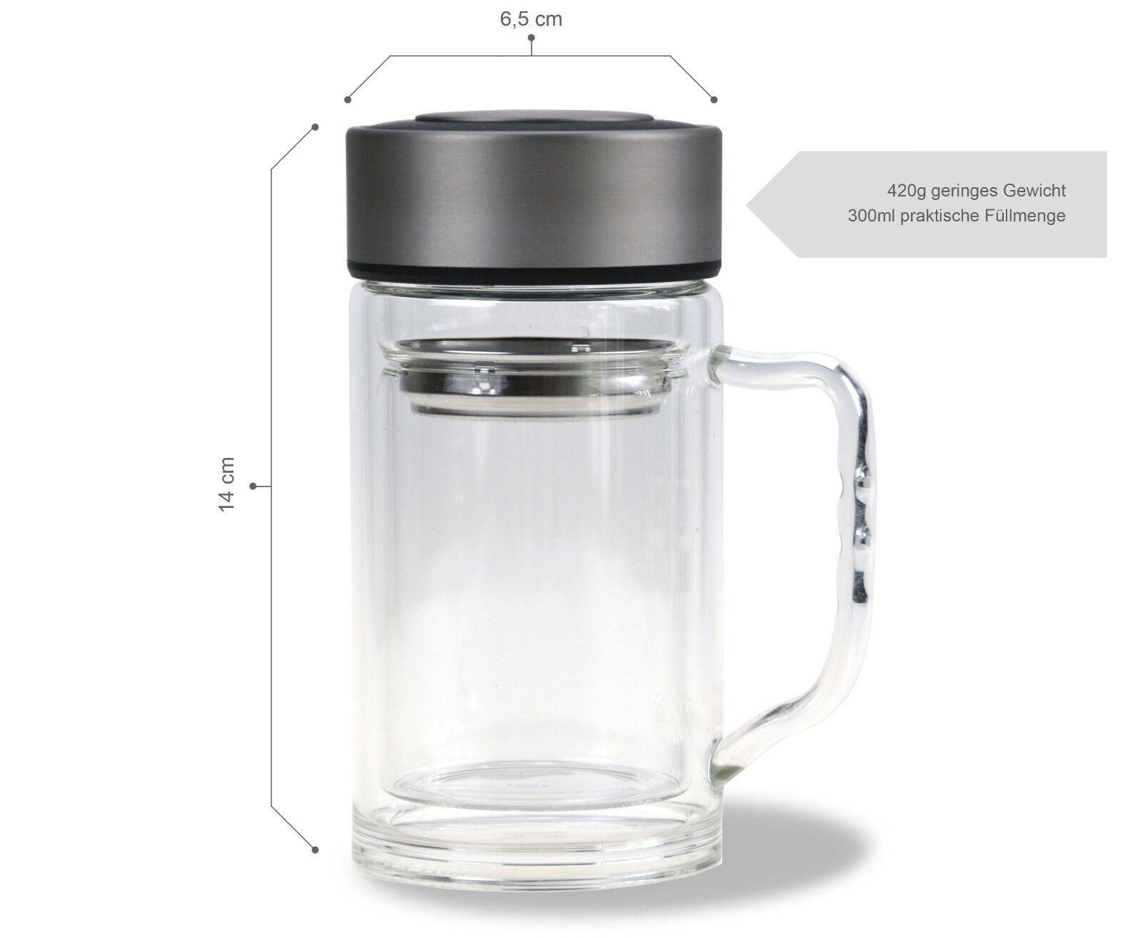Teebereiter mit Henkel / 300 ml / 100% dicht / Tee-Glas doppelwandig / to go