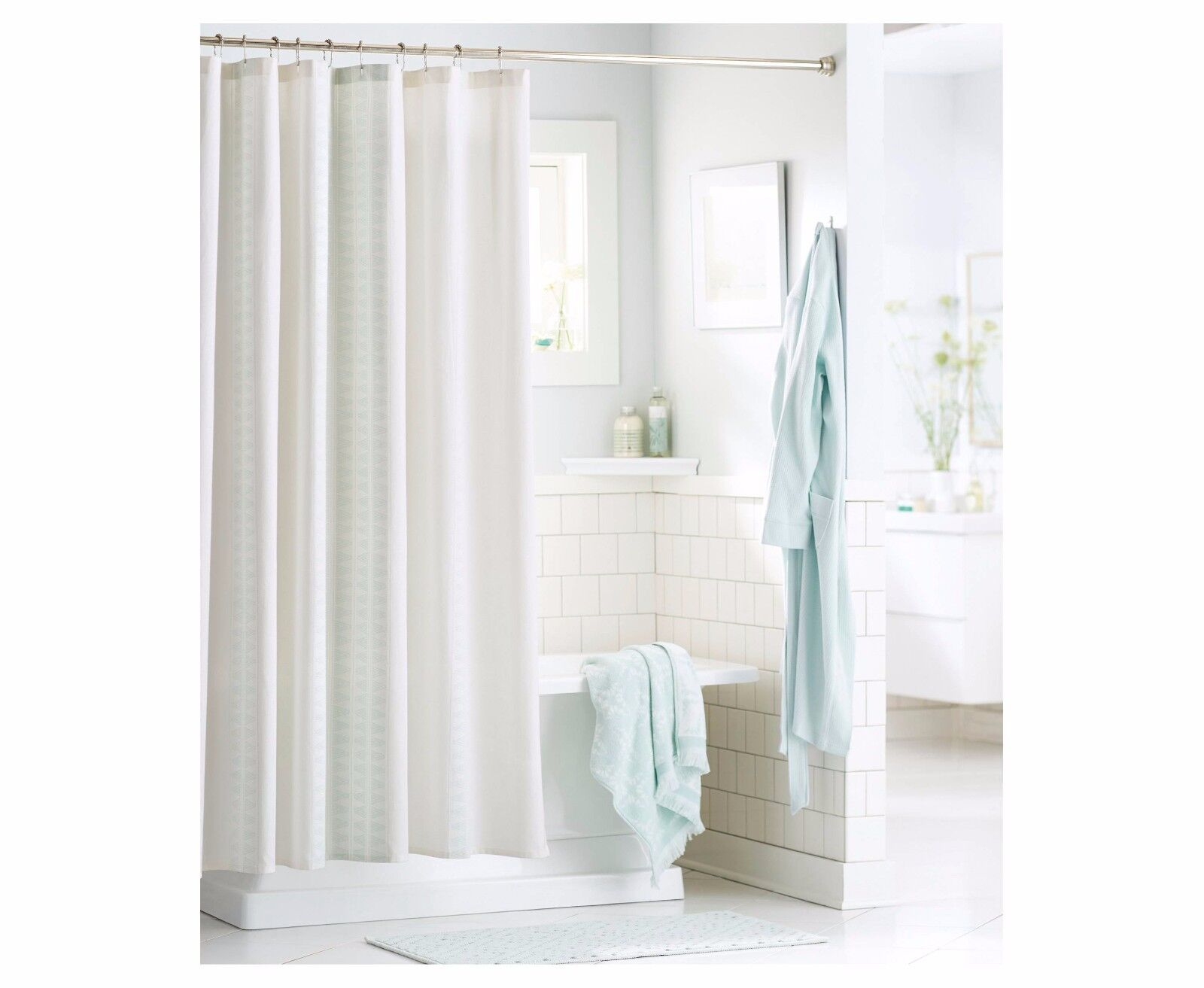 Details About Threshold Shower Curtain Green Diamond Stripe 72 In X 72 In New