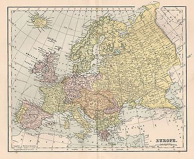 1900 Ca ANTIQUE MAP EUROPE
