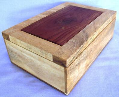 SMALL JEWELLERY BOX WITH VARIOUS TIMBERS Middle Ridge Toowoomba City Preview