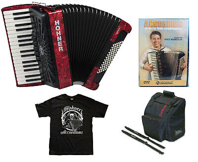 Hohner Bravo 72 Red Piano Accordion Acordeon +Instruction DVD_Bag_Straps_T-Shirt