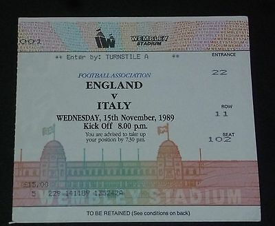 England v Italy ticket 1989