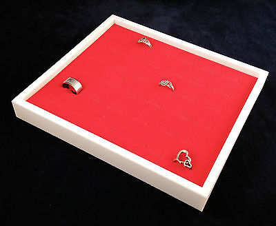 36 Ring Stackable Display Case White With Red Velvet Insert