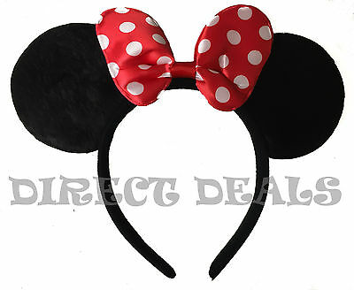 Minnie Mouse Ears Headband Black Red Polka Dot Bow Party Favors Costume Mickey](Minnie Mouse Red Party Supplies)