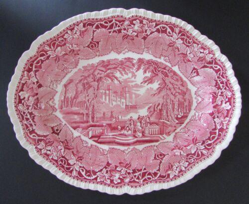"Antique Masons ""VISTA"" Large 15 1/4"" Platter Red/Pink Transferware"