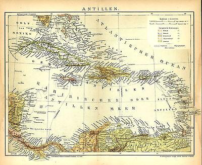 Alte Landkarte 1898: Antillen. Cuba Jamaika Puerto Rico Domenikanische Rep (B14) ()