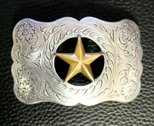 WESTERN COWBOY SILVER AND BRASS PLATED TEXAS RANGER STAR TROPHY BELT BUCKLE NEW