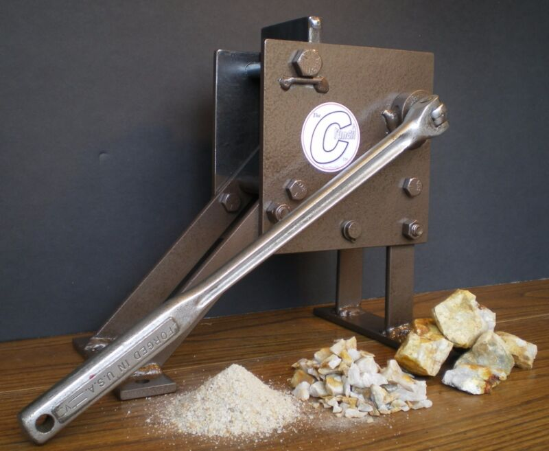 """Rock Crusher, hand operated Jaw type. Geological assay frit pick """"The Crunch"""""""