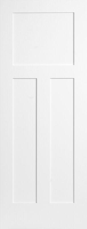 3 Panel Flat Primed Mission Shaker Stile & Rail Solid Core Wood Doors Door Slabs