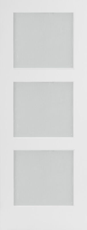 Primed 3 Panel Equal Frit & Frosted Glass Mission/Shaker Interior Wood Doors