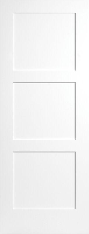 3 Flat Panel Equal Primed Mission Shaker Stile & Rail Solid Core Doors - Prehung